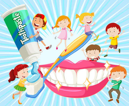 teeth cleaning: Children cleaning teeth with toothbrush illustration