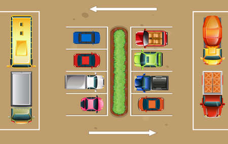 Top view of parking lot illustration Illustration