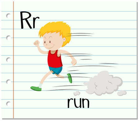 verb: Letter R with boy running illustration
