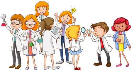 grownup: Scientists and teacher together illustration