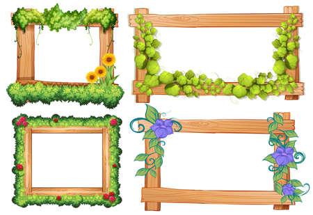 botanical gardens: Four design of wooden frames illustration