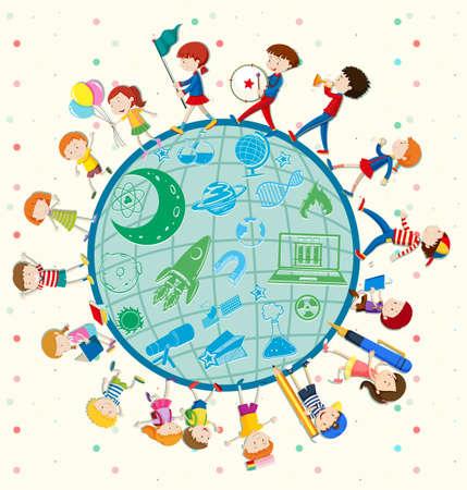 illustrated globes: Children love science around the world illustration Illustration