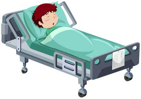 hospital dibujo animado: Boy estar enfermo en el hospital ilustración de la cama