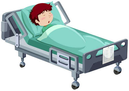 Boy being sick in hospital bed illustration Stock Illustratie