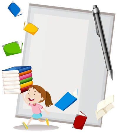 notebook: Paper design with girl and books illustration
