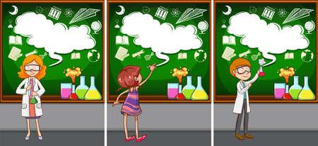 enseñanza: Los profesores de ciencias en el aula de la ilustración Vectores