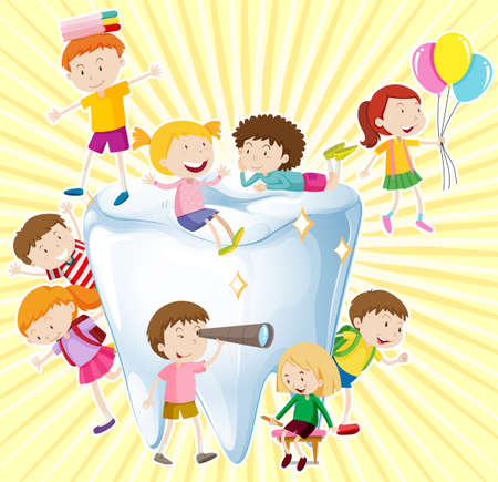kids background: Boys and girls with clean tooth illustration Illustration