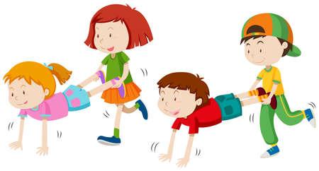 Children playing wheel barrow illustration Vettoriali
