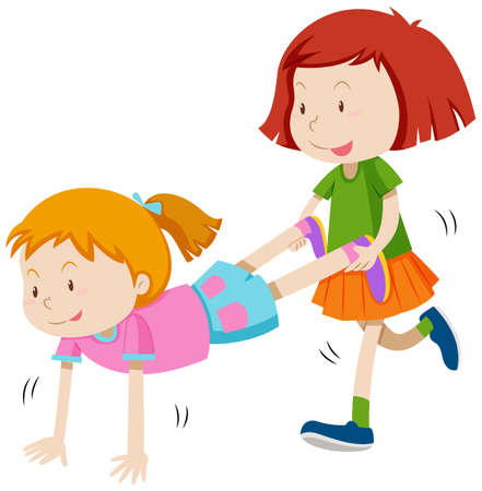 two girls: Two girls playing human wheel barrow illustration