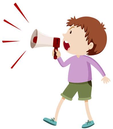 Angry boy shouting through speaker illustration