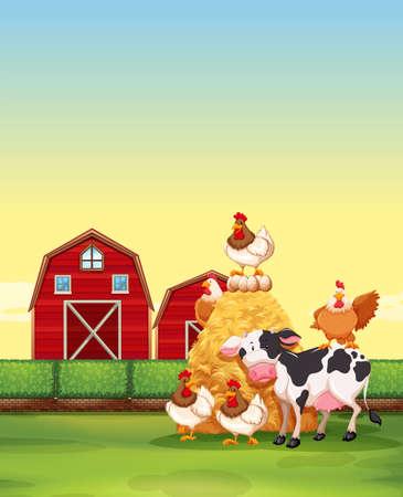 farm animal: Farm animals living on the farm illustration Illustration