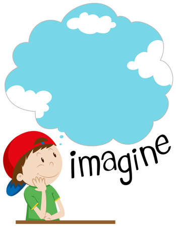 Boy sitting and imagining thing illustration
