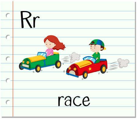r transportation: Flashcard letter R is for race illustration Illustration