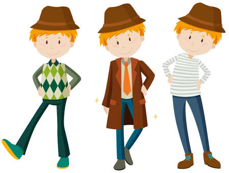 outfit: Man in three different outfit illustration