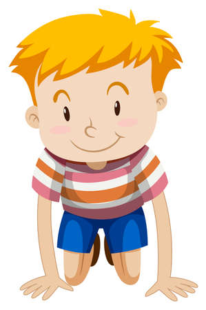 kneeling: Little boy with happy face illustration