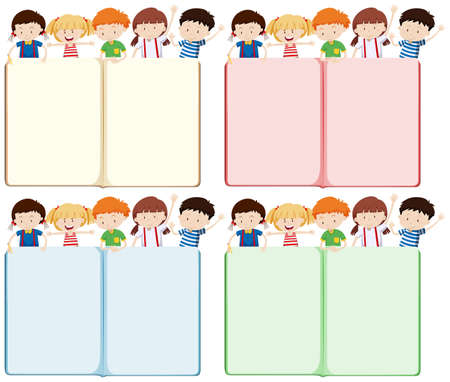 background picture: Children and blank books illustration Illustration