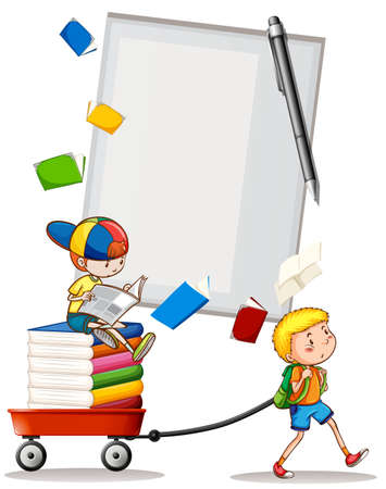 two boys: Two boys with books illustration Illustration