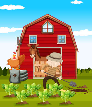 grounds: Farmer working on the farm illustration Illustration