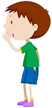 whispering: Little boy in green shirt whispering illustration