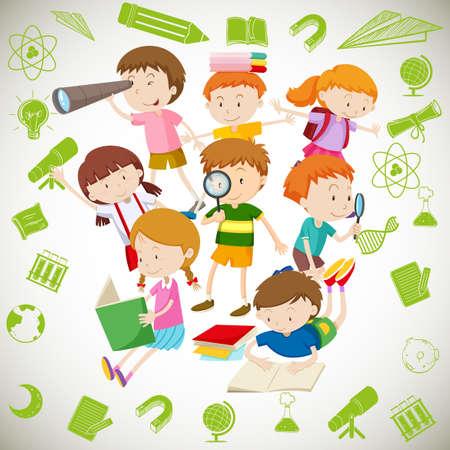 Gruppe von Kindern das Lesen und Lernen Illustration Vektorgrafik