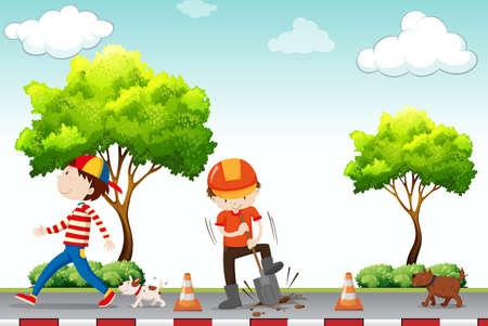sidewalk: Man walking on pavement with construction site illustration