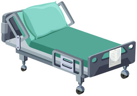 beds: Hospital bed with wheels illustration