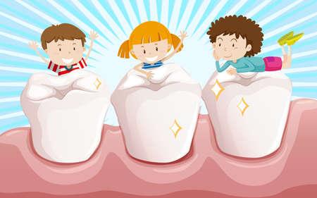 los dientes limpios y niños felices ilustración