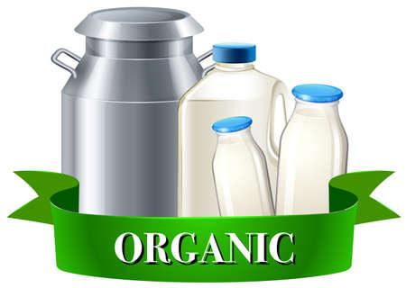 fresh milk: Fresh organic milk in bottles illustration