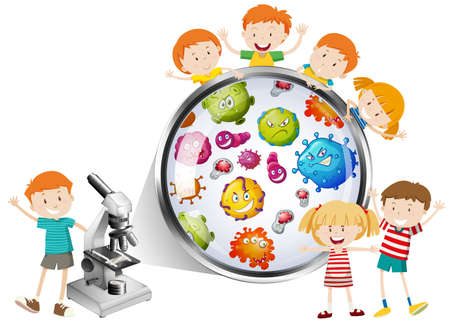 bacteria microscope: Children looking at bacteria from microscope illustration Illustration
