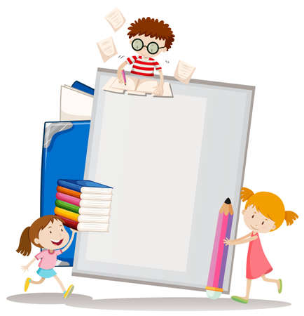 assignment: Paper design with children and books illustration