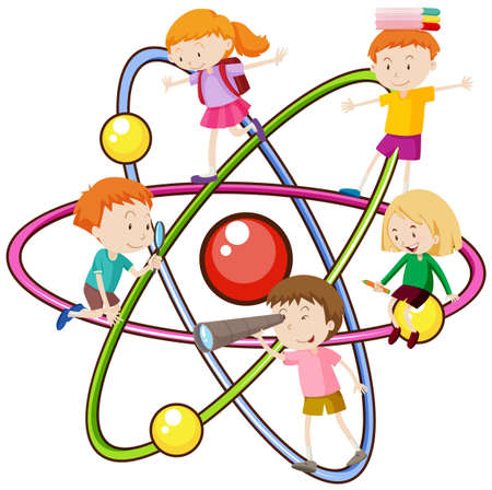 atomic symbol: Children and atomic symbol illustration