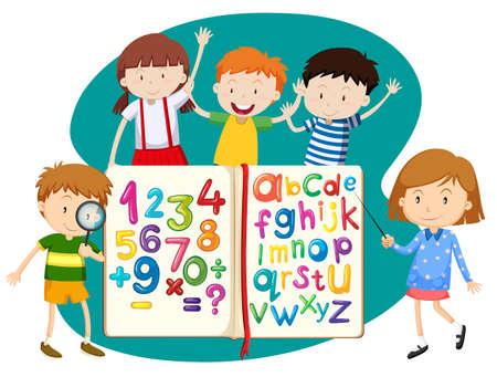 children illustration: Children with book of math and english illustration