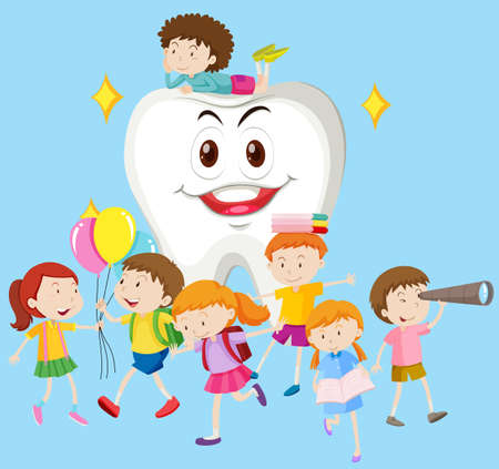 healthy kid: Children with clean tooth illustration