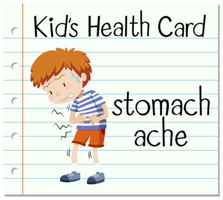stomach ache: Health flashcard with stomach ache illustration