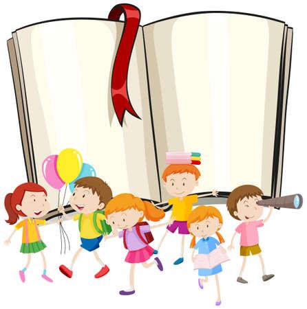 libro abierto: diseño de la frontera con niños y niñas de la ilustración Vectores