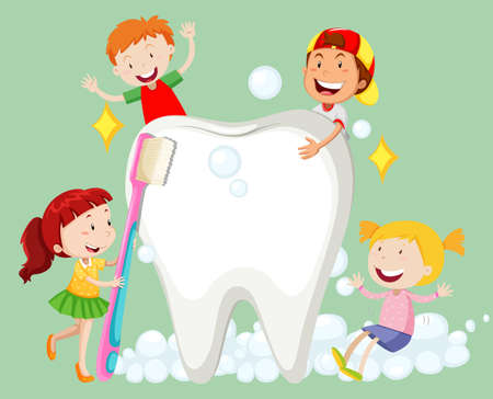 children art: Children cleaning tooth with toothbrush illustration