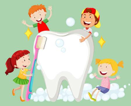 niños: Los niños de limpieza de los dientes con el cepillo de dientes ilustración Vectores