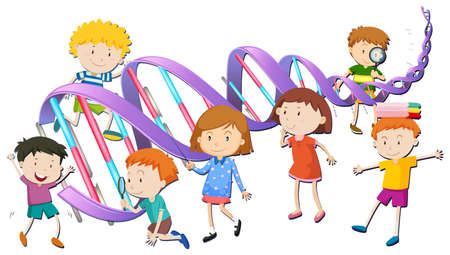 character traits: Boys and girls with DNA model illustration
