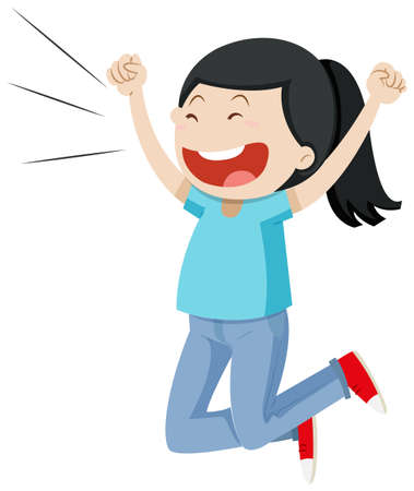 Girl jumping up with excitement illustration Иллюстрация