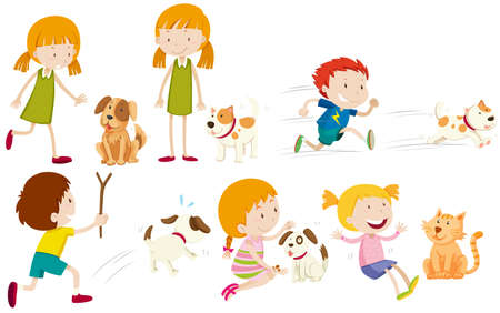 Girl and boy playing with dog illustration