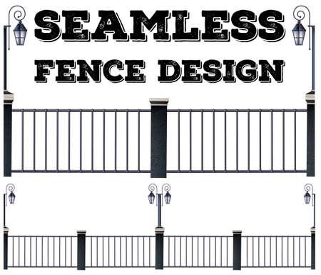 fence post: Seamless metal fence design illustration Illustration