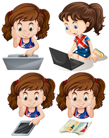 using tablet: Girl using computer and tablet illustration Illustration