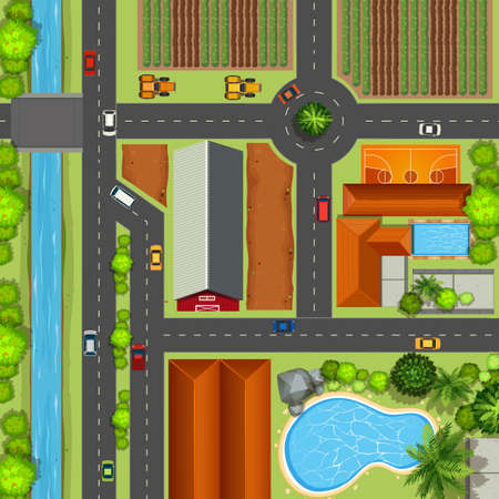 city view: Top view of farmland and town illustration