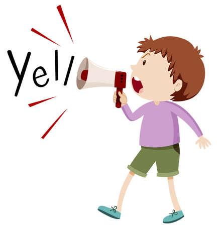 yelling: Boy yelling through speaker illustration