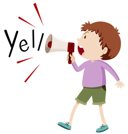 Boy yelling through speaker illustration