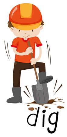 construction helmet: Construction worker digging the ground illustration Illustration