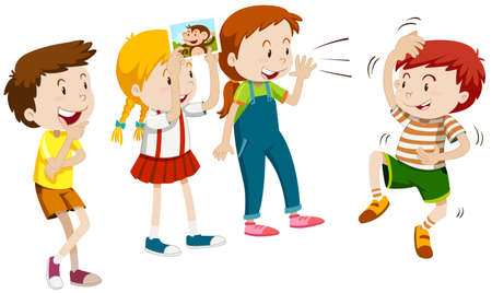 Children playing monkey with friends illustration