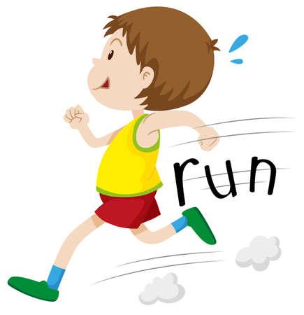 child running: Little boy running alone illustration Illustration