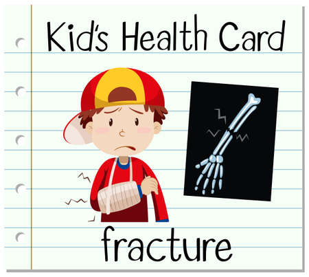 x ray image: Health card with boy and fracture illustration