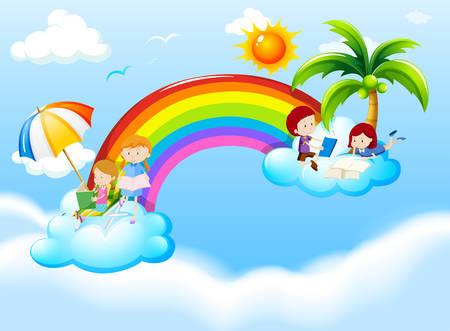 infancia: Niños que leen en la ilustración de las nubes Vectores